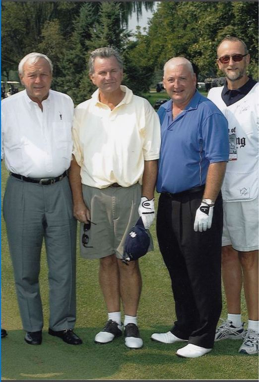 Arnold Palmer with Peter Deeks (2nd from left) at Weston G&CC in 2009